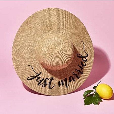 Just Married Women's Straw Sun Hat