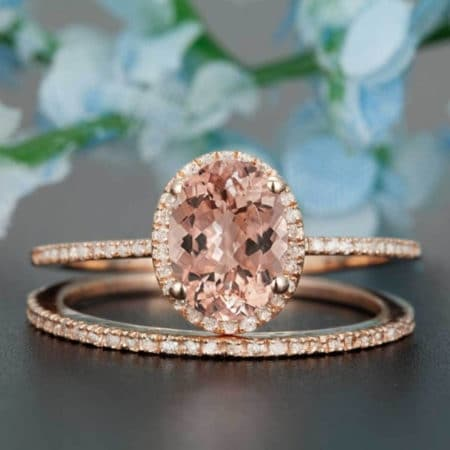 Morganite and Diamond Oval Cut Halo Engagement Ring Set