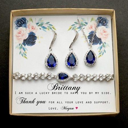 Blue Sapphire Bridesmaid Jewelry Set