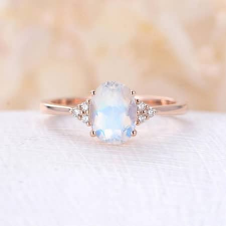 Moonstone and Diamond Women's Engagement Ring