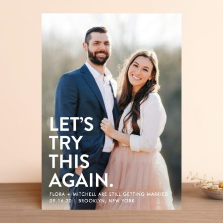 Let's Try This Again - Postponed wedding announcement from Minted