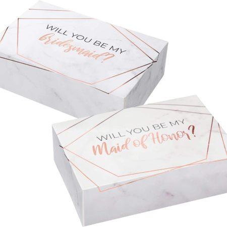 Bridesmaid Proposal Box Set Marble Style - 6 Pack
