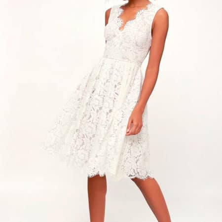 Love Swept White Lace Midi Skater Dress