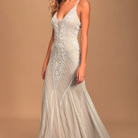This I Promise You White and Nude Beaded Sequin Maxi Dress