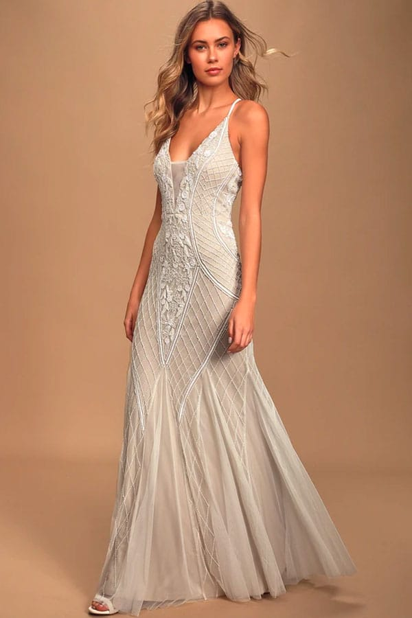Lulus This I Promise You White and Nude Beaded Sequin Maxi Dress