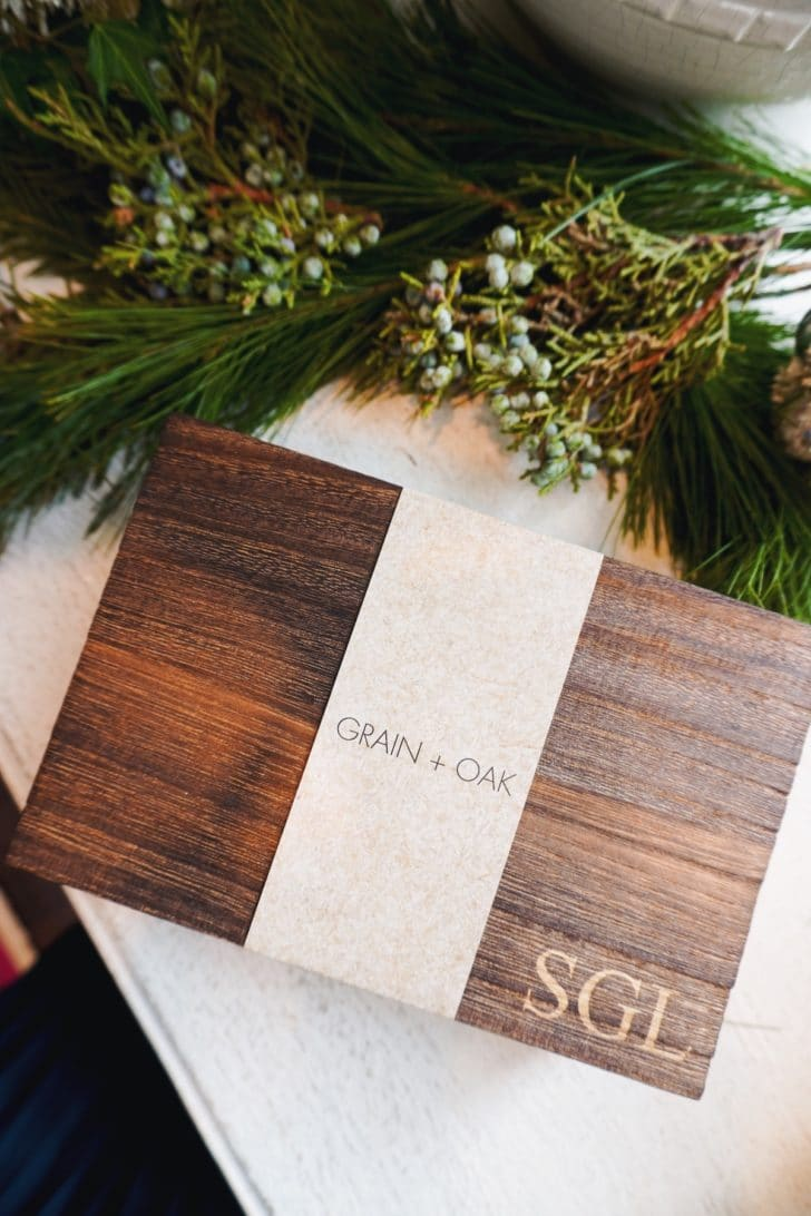Grain + Oak's monogrammed gift boxes are perfect for any occasion, especially for the special dudes in your wedding party.