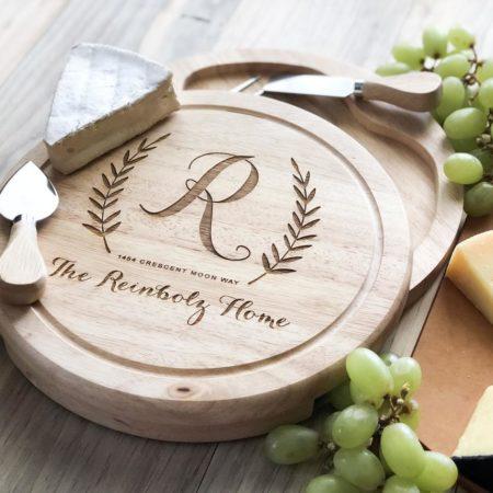 Personalized cheese set via TaylorCraftsEngraved on Etsy