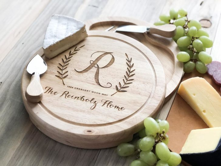 Personalized cheese set via TaylorCraftsEngraved on Etsy
