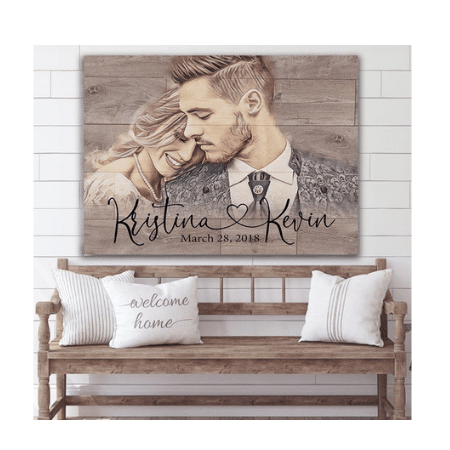Wedding Gifts for spouse on your big day - Custom Illustrated Wood Grain Print