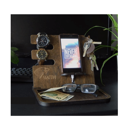 Wedding Gifts for spouse on your big day-Personalized Wooden Docking Station