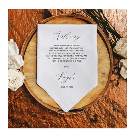 Wedding Gifts for spouse on your big day-Personalized Handkerchief