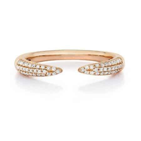 Triple Row Diamond Claw Ring