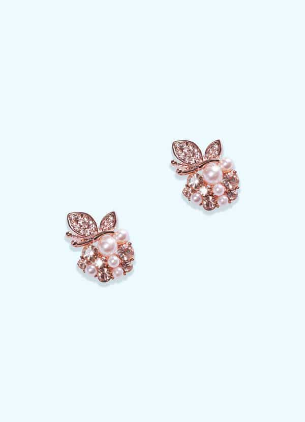 Azazie Pearl and Rose Gold Earrings