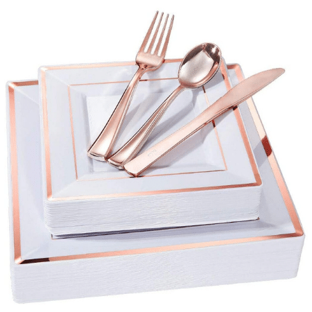 Realistic Rose Gold Place Settings with Utensils - 25 ct.