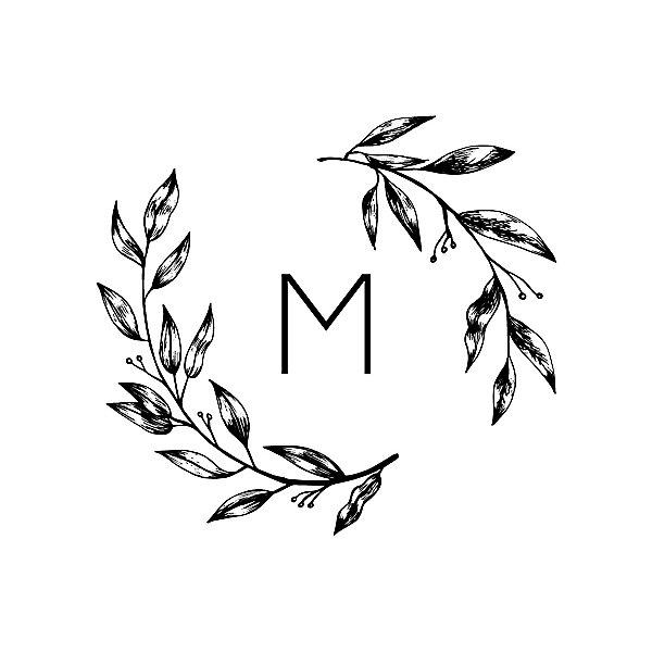 monogram leaves custom stamp