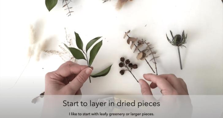 boutonnières florales séchées étape 1
