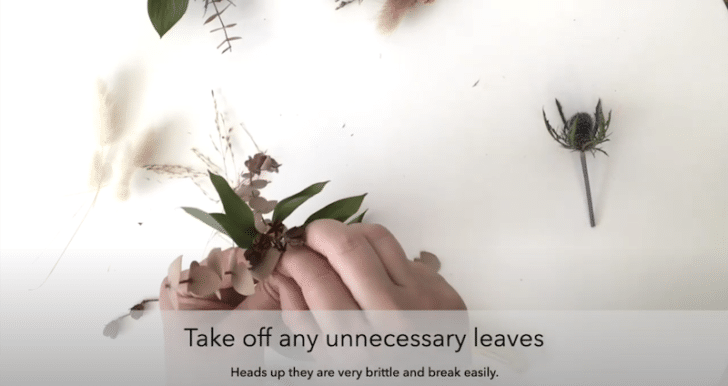 boutonnières florales séchées étape 3