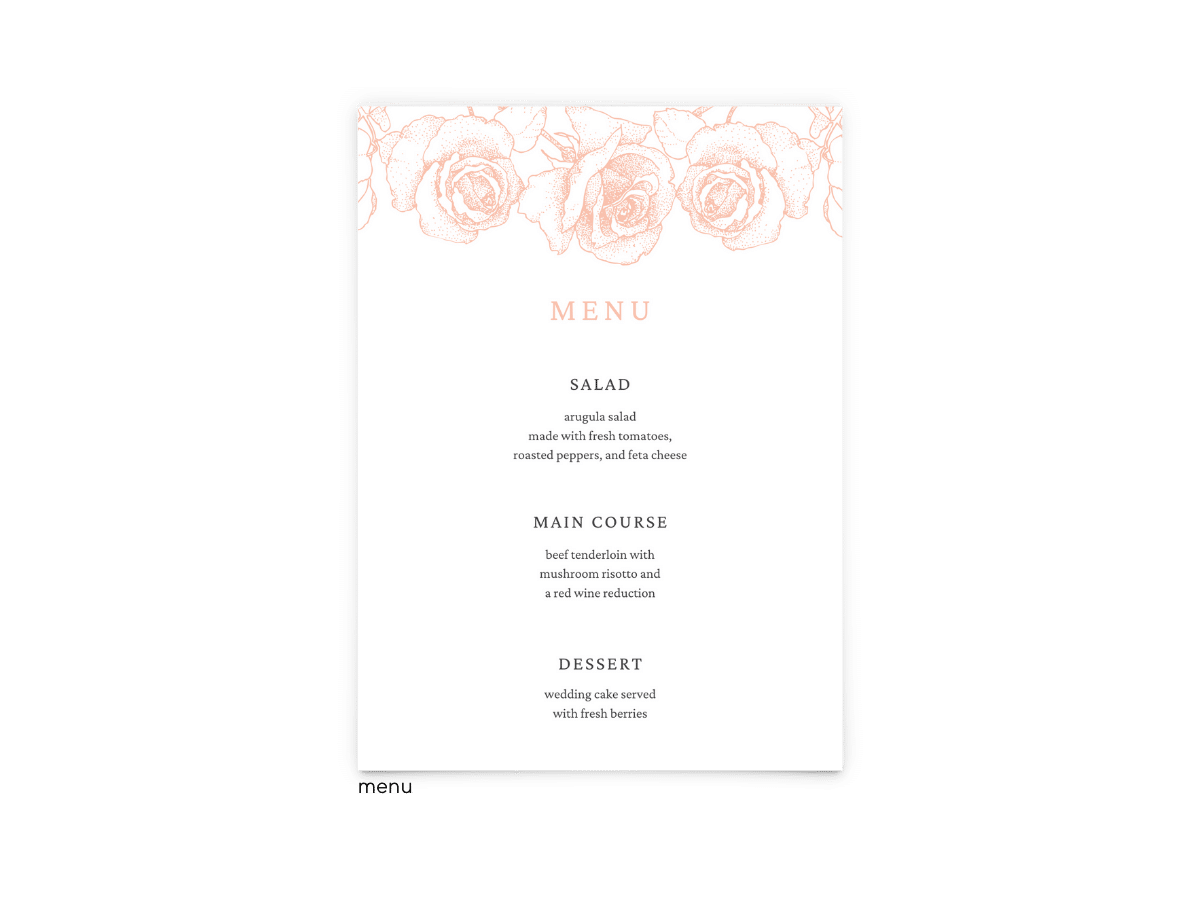 Free Editable Wedding Menus • Phoebe Collection • The Budget Savvy Bride