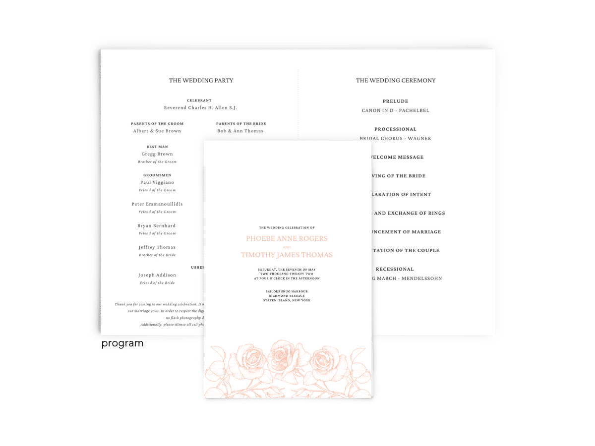 Free Editable Wedding Program • Phoebe Collection • The Budget Savvy Bride