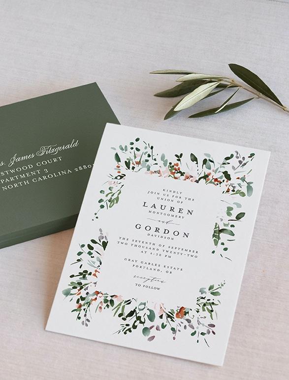 Colección de invitaciones de boda acuñadas 2021