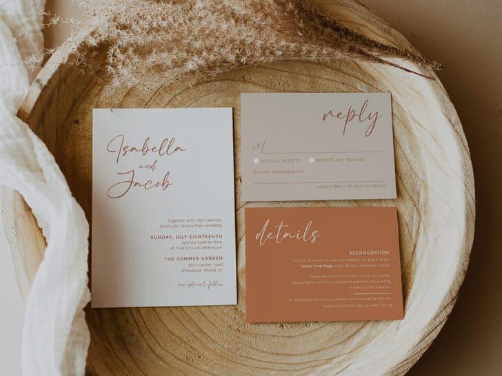 Cheap Wedding Invitation Template from Visualizing Designs on Etsy - Terracotta boho wedding invitation